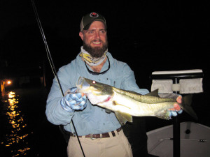 Tom Files, from McIntosh, FL, beat the heat last July by catching and releasing snook before dawn and tripletail later in the morning on flies while fishing in Sarasota with Capt. Rick Grassett. Capt. Rick Grassett file photo.