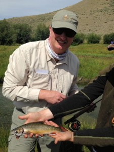 Tim Siegel, from IN, with a brook trout caught and released on a dry fly while fishing a Montana creek out of Crane Meadow Lodge in Twin Bridges, MT.