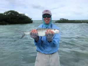 Stewart Lavelle, from Sarasota, FL, with a nice bonefish caught and released on a fly while fishing out of Mars Bay Bonefish Lodge in South Andros, Bahamas.