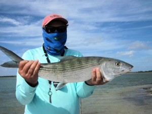 Jerry Poslusny, from Rochester, NY, withan estimated 7-lb bonefish caught and released on a fly while fishing out of Mars Bay Bonefish Lodge in South Andros, Bahamas.
