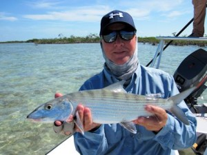 Kirk Grassett, from Middletown, DE, with a nice bonefish caught and released on a fly while fishing out of Mars Bay Bonefish Lodge in South Andros, Bahamas.