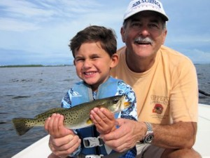 Al Ribas, from Miami, FL, and his grandson, Michael, had some action catching and releasing trout on CAL jigs with shad tails while fishing Saradota Bay with Capt. Rick Grassett.