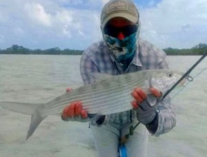 DJ, from NY, with a chunky South Andros bonefish caught and released on a fly while fishing out of Mars Bay Bonefish Lodge.