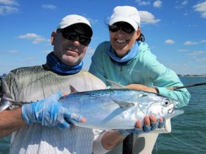Massimo Giardina and Tatiana Migliaretti, from Switzerland, had good action catching and releasing false albacore in the coastal gulf on CAL jigs with shad tails while fishing with Capt. Rick Grassett.