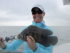 Tatiana Migliaretti, from Switzerland, caught and released her first tripletail on a DOA Shrimp while fishing the coastal gulf in Sarasota with Capt. Rick Grassett.