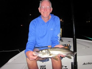August should be a great month for snook and juvenile tarpon on flies around dock lights at night. Bob Delano, from GA, had good action in a previous August catching and releasing this snook on a glass minnow fly pattern while fishing with Capt.Rick Grassett.