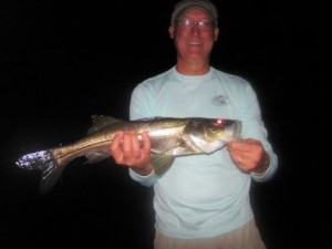 Jon Johnston, from PA, had good action catching and releasing snook on flies while fishing dock lights recently with Capt. Rick Grassett.