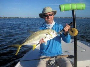 Tom Sprague, from MA, with a nice jack caught and released on a DOA Deadly Combo while fishing Little Sarasota Bay with Capt. Rick Grassett.