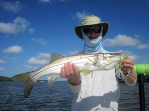 Tom Sprague, from MA, with a snook caught and released on a DOA Deadly Combo while fishing Little Sarasota Bay with Capt. Rick Grassett.