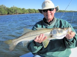 "Keith McClintock, from Lake Forest, IL, with a 28"" snook caught and released on a CAL jig with a shad tail while fishing Gasparilla Sound near Boca Grande with Capt. Rick Grassett."