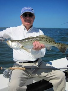 Alan Sugar, from MI, caught and released this nice trout on an Ultra Hair Clouser fly while fishing Sarasota Bay with Capt. Rick Grassett in a previous March.