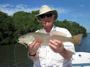 Keith McClintock. from Lake Forest, IL, with a red caught and released on a CAL jig with a shad tail while fishing the Terr Ceia area with Capt. Rick Grassett recently.
