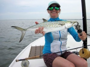 Lindsey Lewis, from CO, with a nice Spanish mackerel caught and released on a Clouser fly while fishing Sarasota Bay with Capt. Rick Grassett in a previous April.