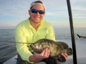 Raul Ortiz, from Longboat Key, with a tripletail caught and released on a DOA Shrimp while fishing Sarasota Bay with Capt. Rick Grassett in a previous August.