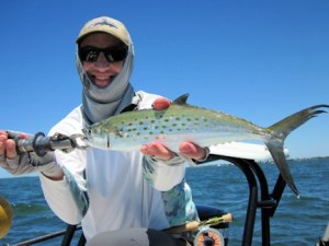 Matt Schenk, from CO, caught and released this Spanish mackerel on an Ultra Hair Clouser fly while fishing with Capt. Rick Grassett in a previous April.