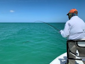 Vince Sharp, from Sarasota, battles his first tarpon caught and released on a fly while fishing with Capt. Rick Grassett.