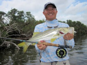 Jon Yenari from Sarasota, with a snook caught and released on a fly while fishing Tampa Bay with Capt. Rick Grassett in a previous October.